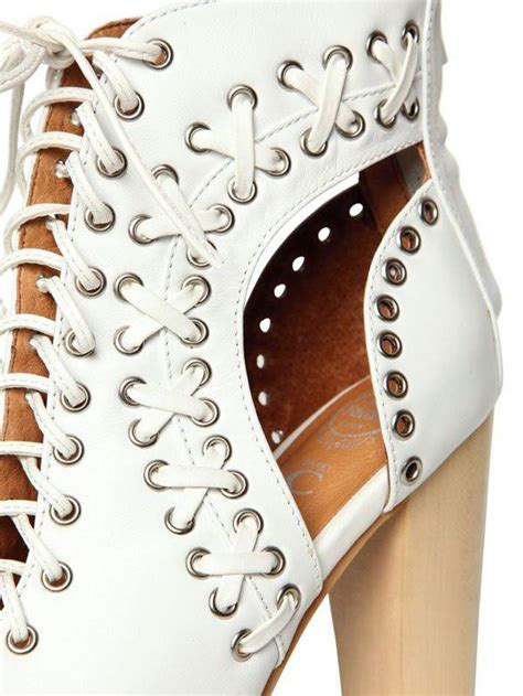 Jeffrey Campbell Lita Leather Cutout Open Toe Boots in