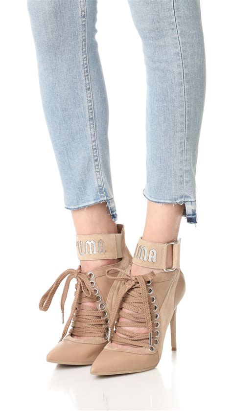PUMA Suede Fenty X Lace Up Heels in Natural - Lyst