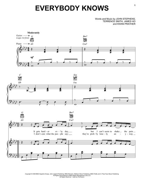 Everybody Knows sheet music by John Legend (Piano, Vocal