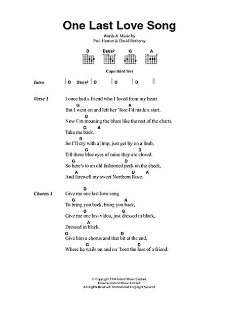One Last Love Song sheet music by The Beautiful South
